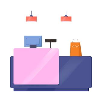空のキャッシュデスクと紙の買い物袋とフラットなイラスト