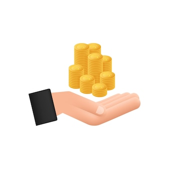 Flat illustration with hand coins. website vector icon. business concept.