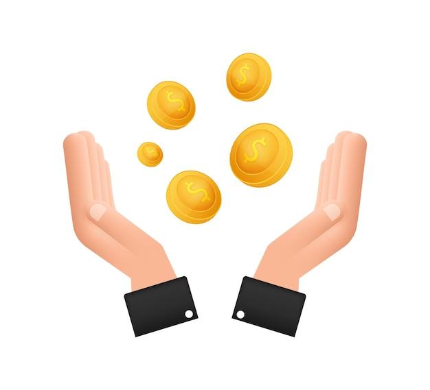 손 동전과 평면 그림입니다. 웹사이트 벡터 아이콘입니다. 비즈니스 개념입니다.