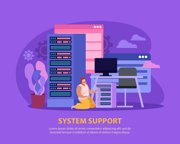 서버 룸에서 기술 작업을 수행하는 남자 시스템 관리자와 평면 그림