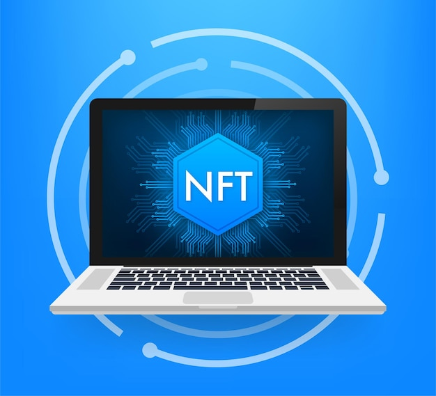 Nft 노트북 화면이 있는 평면 그림입니다. 배너 벡터입니다. 평면 디자인. 벡터 디자인 아트입니다.