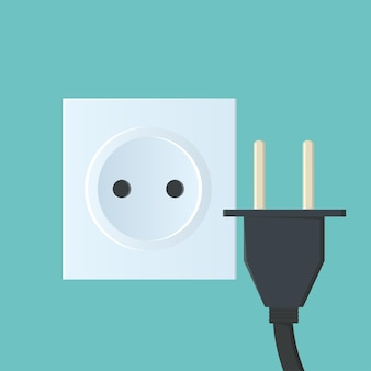 Flat illustration with sockets and plugs with a wire