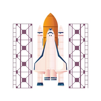 Flat illustration with space rocket ready to launch on white