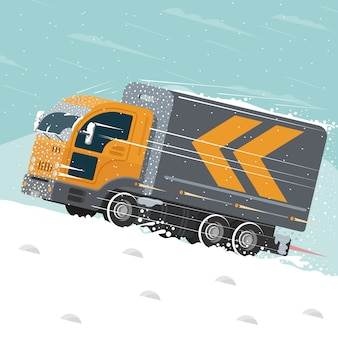 Flat illustration with truck rides in winter.