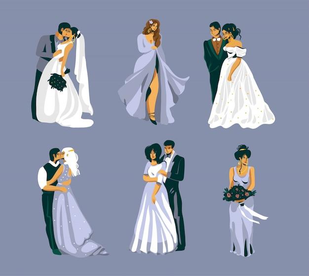 Плоская иллюстрация с набором объятий и поцелуев свадебных пар, изолированных на фиолетовом