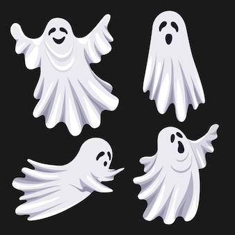 장식 디자인을위한 흰색 유령과 평면 그림