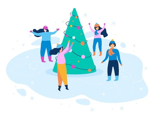 フラットイラスト冬の服を着て踊る女性。