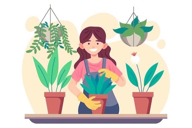 Donna di illustrazione piatto prendersi cura delle piante