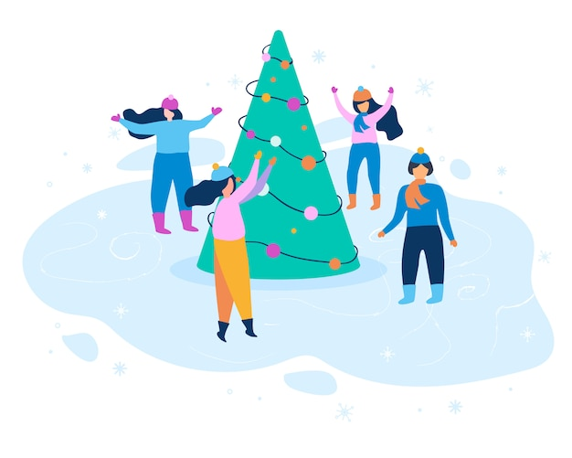 Flat illustration woman in winter clothes dancing.