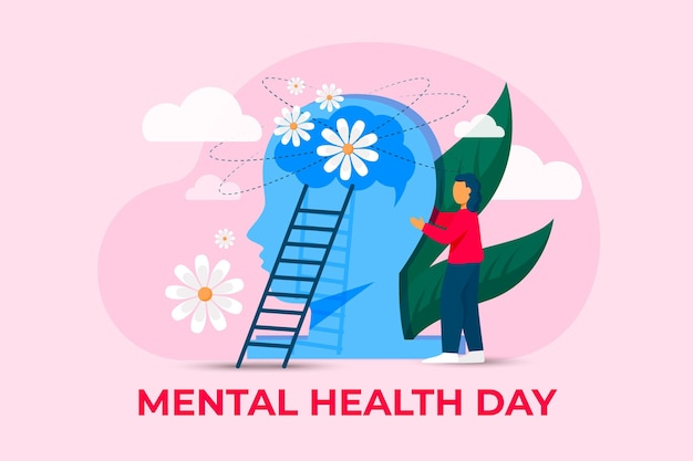 Flat illustration world mental health day