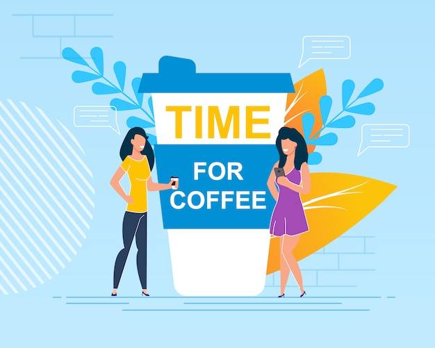 Flat illustration written on cup time for coffee