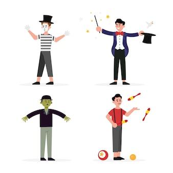 Illustrazioni piatte di personaggi di carnevale che indossano costumi