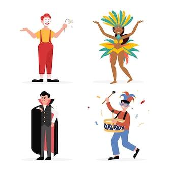Плоские иллюстрации карнавальных персонажей в костюмах