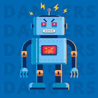 Flat image of an evil killer robot. he is very angry. character vector illustration