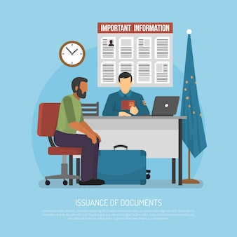 Flat immigration illustration