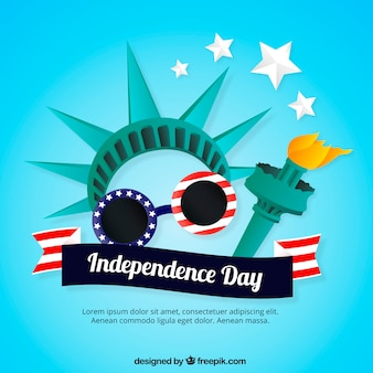 Flat independence day background with statue of liberty