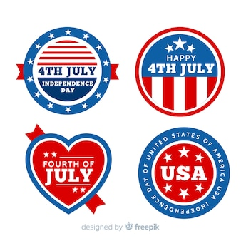 Flat independence day badge collection