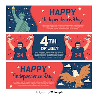 Flat independence day banners