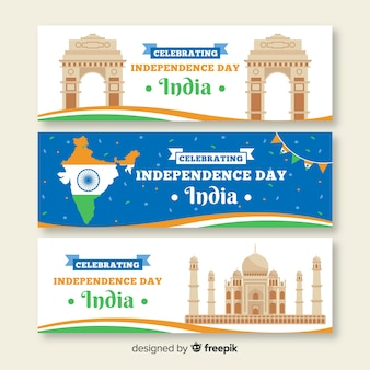 Flat india independence day banners