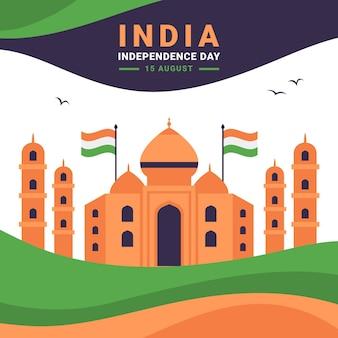 フラットインド独立記念日イラスト
