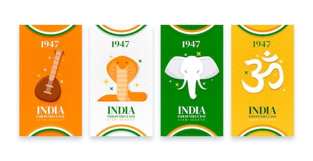플랫 인도 독립 기념일 인스 타 그램 스토리 컬렉션