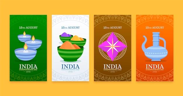 Raccolta di storie di instagram per il giorno dell'indipendenza dell'india piatta
