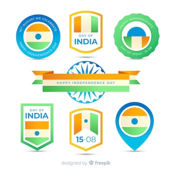 Flat india independence day label collection