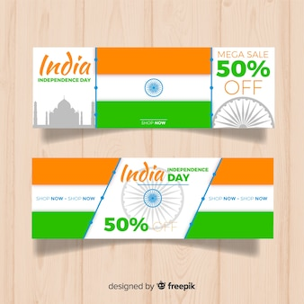 Flat india independence day sale banners