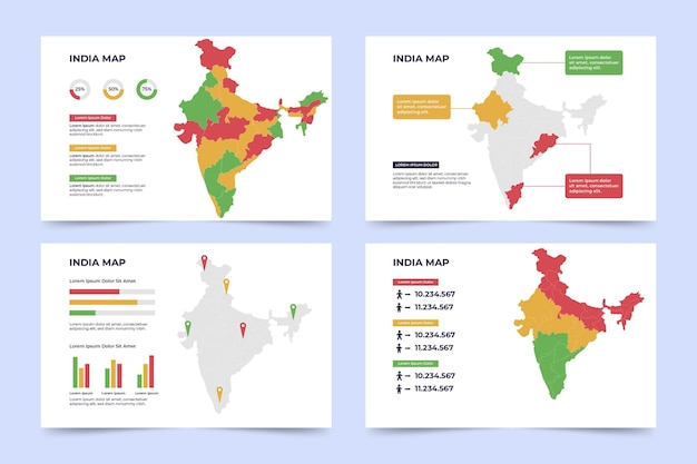 Flat india map infographic
