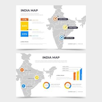 Плоская инфографика карта индии
