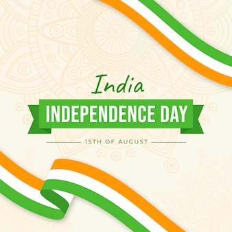 Flat indian independence day illustration