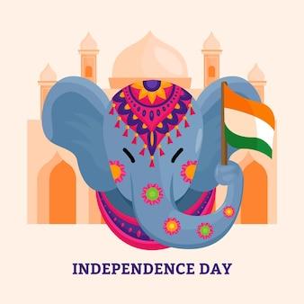 フラット インド独立記念日イラスト