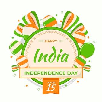Illustrazione piatta del giorno dell'indipendenza indiana