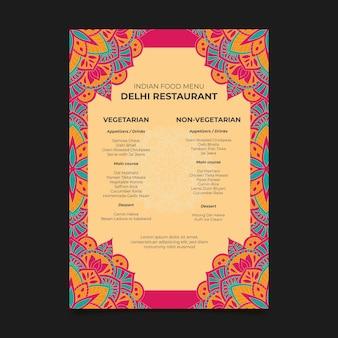 Flat indian menu template