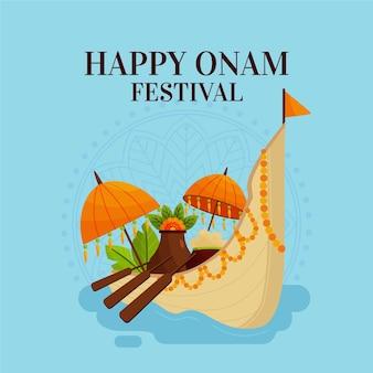 Flat indian onam celebration illustration