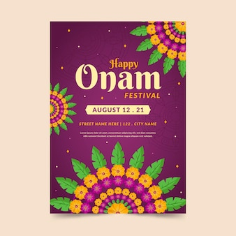 Modello di poster verticale piatto indiano onam
