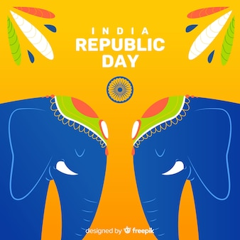 Плоский индийский день республики фон