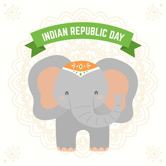 Flat indian republic day with elephant illustration