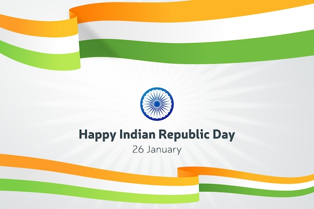 Flat indian republic day with ribbons