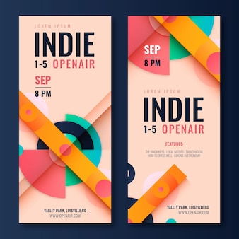 Flat indie festival banners design