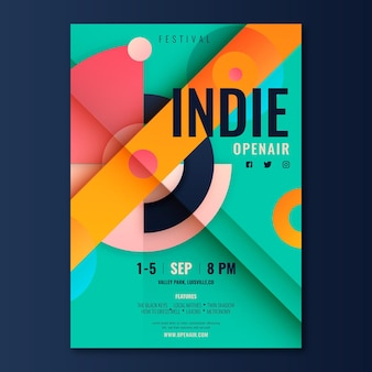 Flat indie music poster template