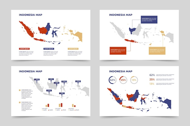 Flat indonesia map infographic