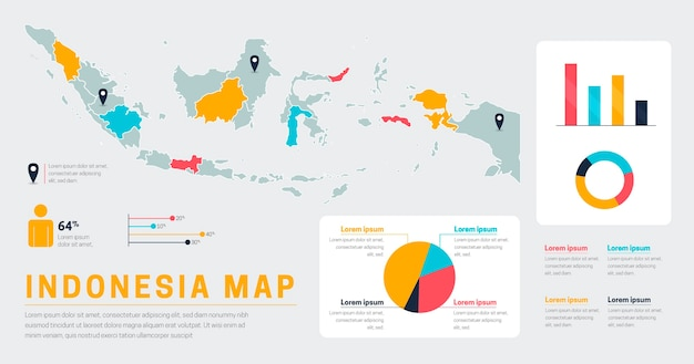 Flat indonesia map infographics