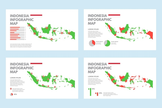 平らなインドネシアの地図のインフォグラフィック