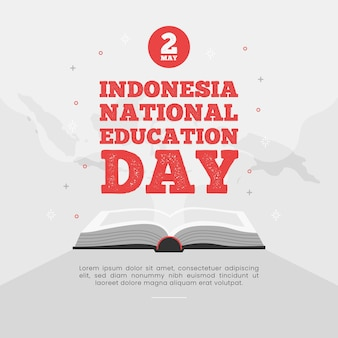 Flat indonesian national education day illustration