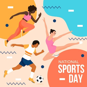 Illustrazione piatta della giornata sportiva nazionale indonesiana