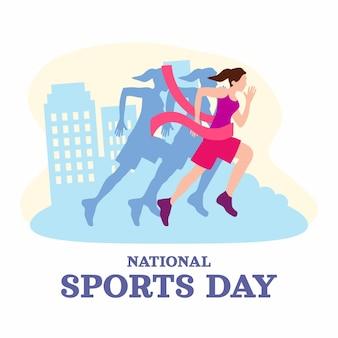 Flat indonesian national sports day illustration