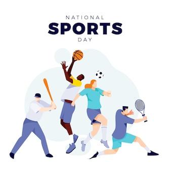 Плоский индонезийский национальный спортивный день иллюстрация