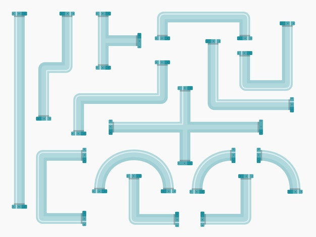 Flat industrial pipes collection with plumbing pipeline parts of different shapes. Premium Vector