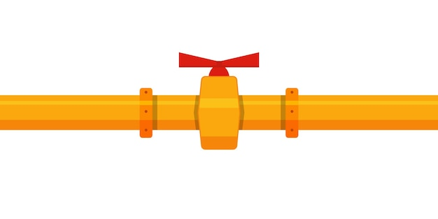 Flat industrial with yellow pipe and red valve on white